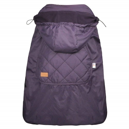 Purple baby carrier cover for winter. Warm and cozy, perfect for baby wearing when it's cold.