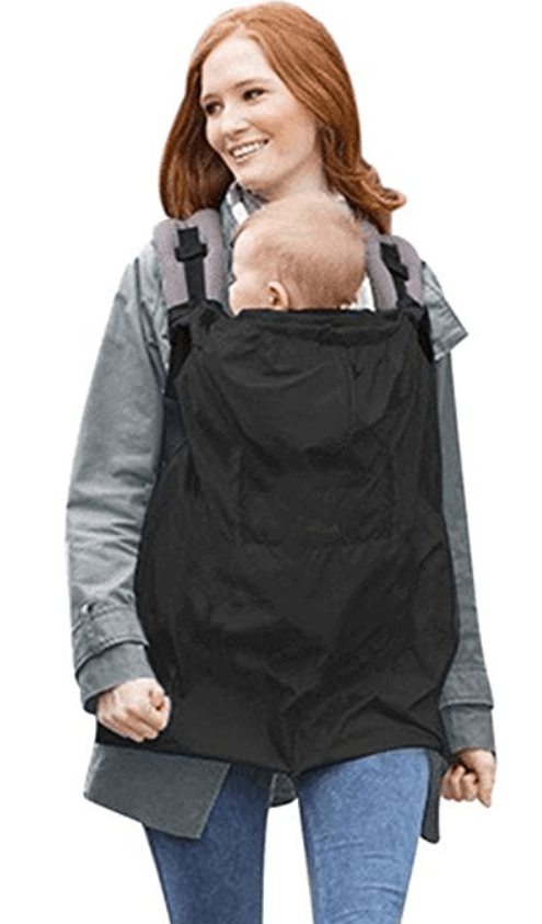 Baby carrier cover for rain, while baby wearing. Keeps your baby dry in rainy weather.