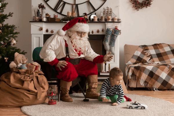 baby's first christmas with santa