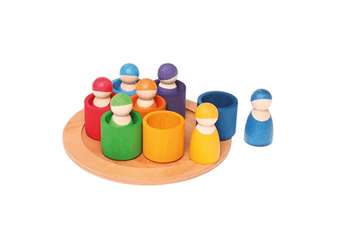 Non toxic baby toys colorful peg dolls and bowls gift set.
