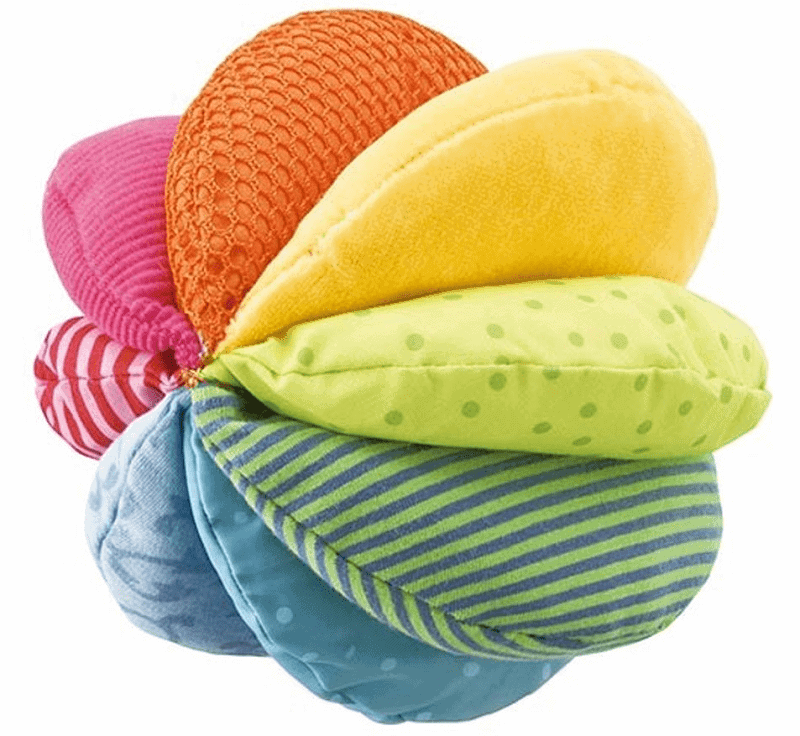 Soft non toxic baby toy. Colorful ecofriendly fabric ball.