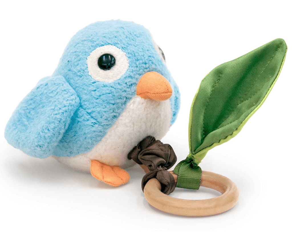 Non toxic baby teether. Cute bird and wooden teething toy as gift for baby.