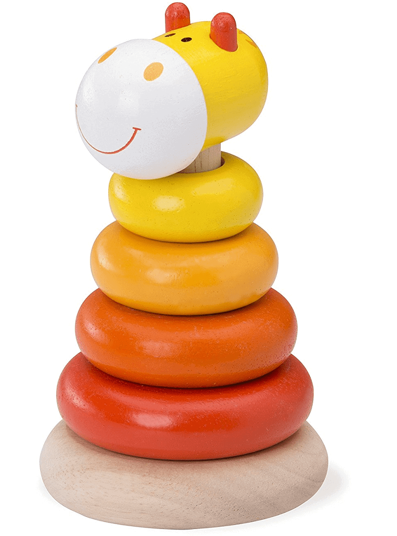 non toxic baby toys. Cute giraffe wooden stacking toy gift for baby.