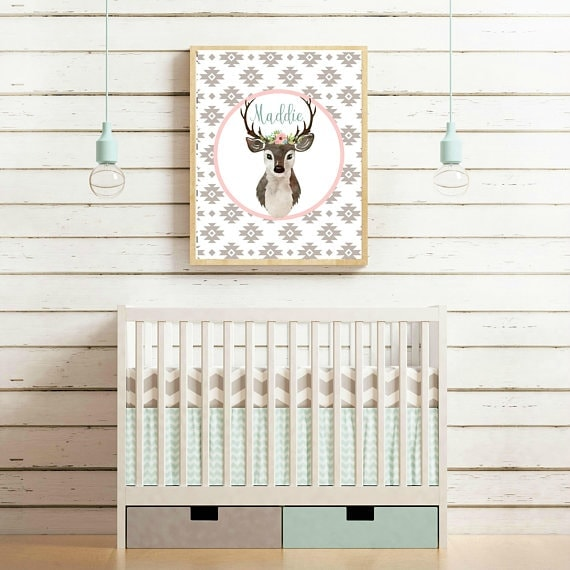 Feminine nursery name wall art. Perfect for girly nursery decor.