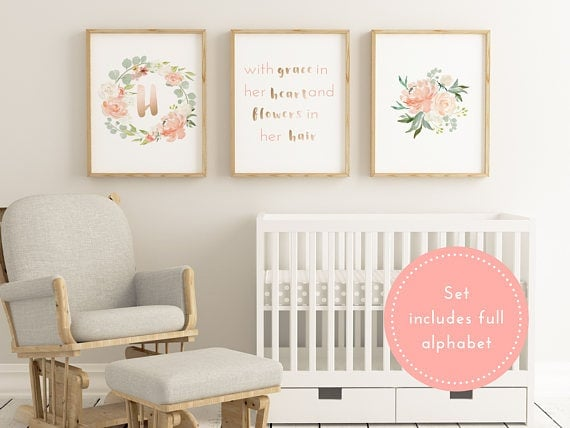 Floral printable baby initials set. Printable art work decor for nursery.