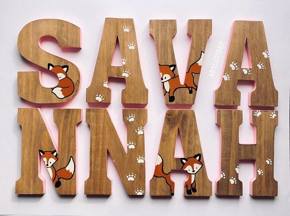 Wooden hand painted fox letters. Perfect personalized nursery decor.