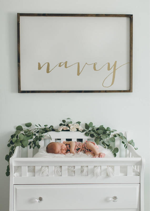 Beautifully framed name for a personalized touch for baby's nursery.