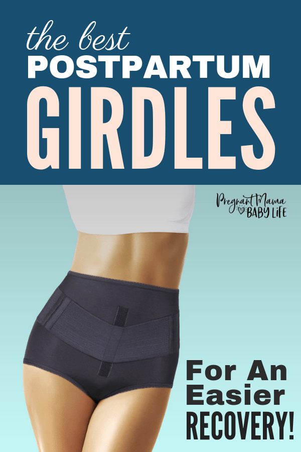 Woman in girdle with text overlay stating the best postpartum girddles for an easier recovery.